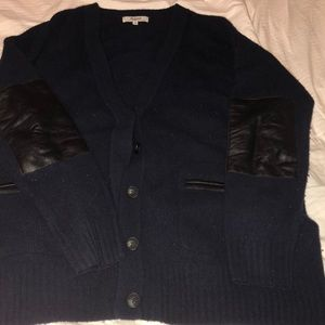 Oversized Madewell Wool and Leather Navy Cardigan